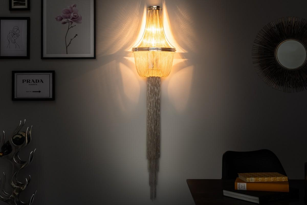 Designová nástěnná lampa Bridget, 150 cm, stříbrná