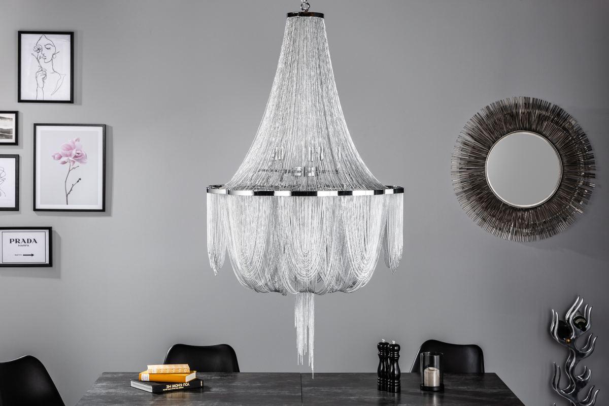 Designový lustr Bridget, 140 cm, stříbrný