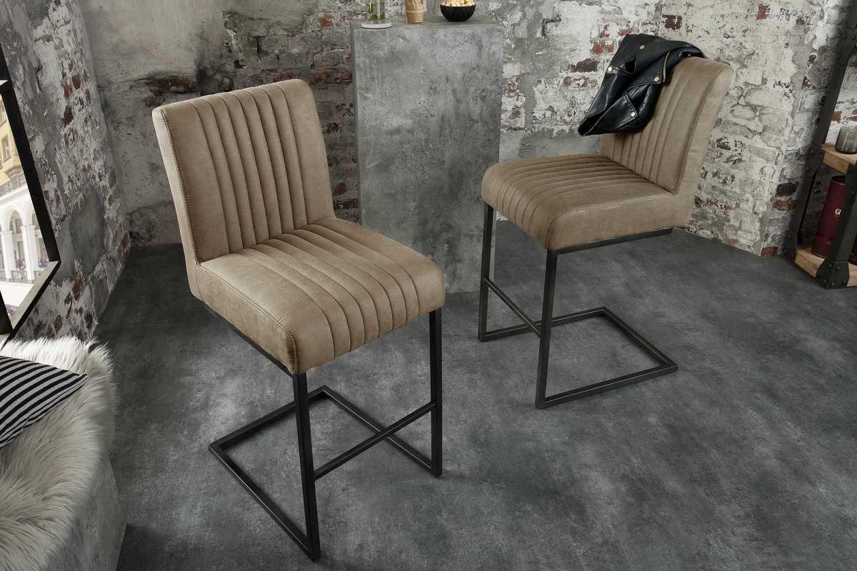 Designová barová židle Boss, šedohnědá taupe