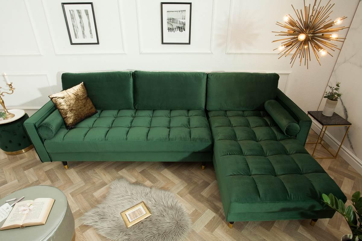 Designová sedačka Adan, tmavozelený samet