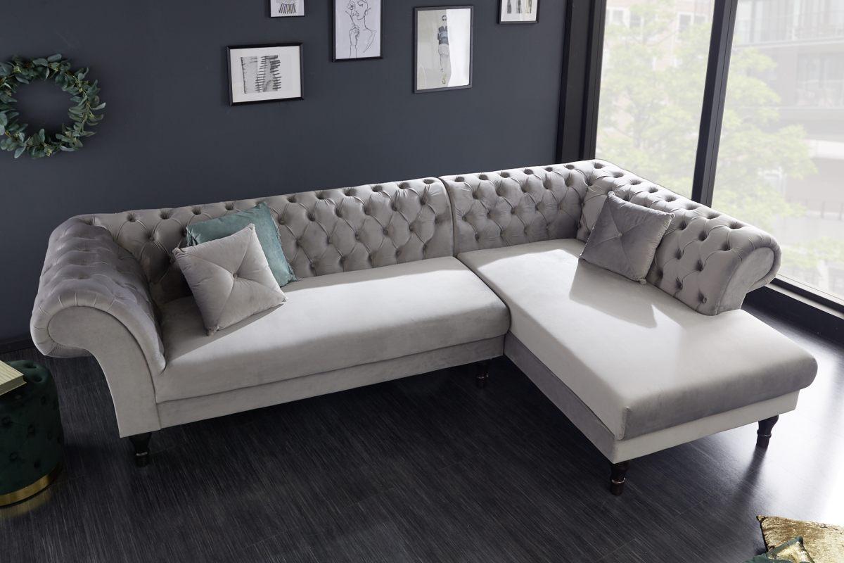 Rohová sedačka Natasha, stříbrný samet