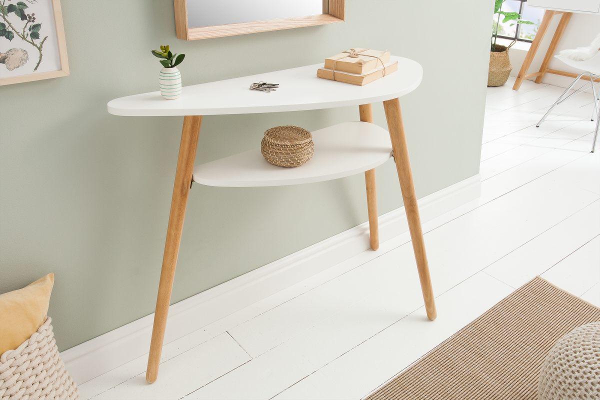 Designová konzola Sweden 95 cm bílá, dub