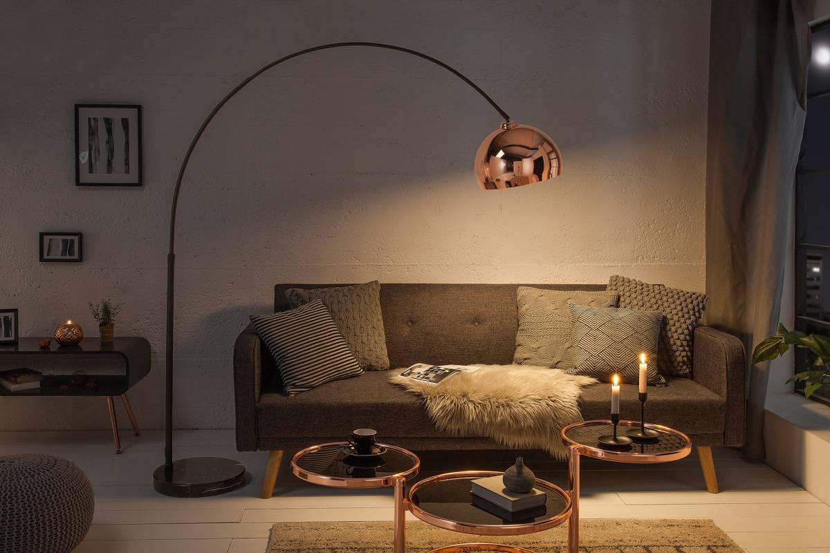 Designová stojanová lampa Arch, zlato-růžová