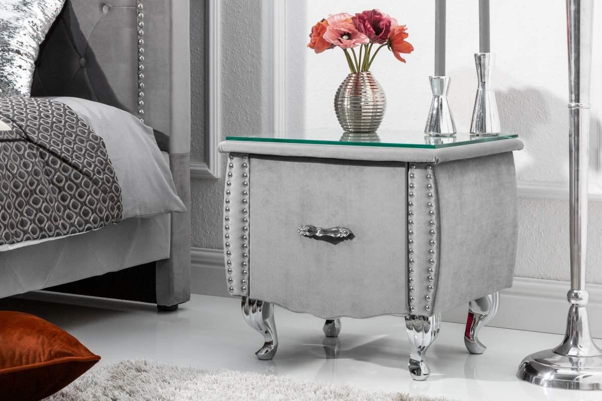 Noční stolek Spectacular, 45 cm, stříbrno-šedý
