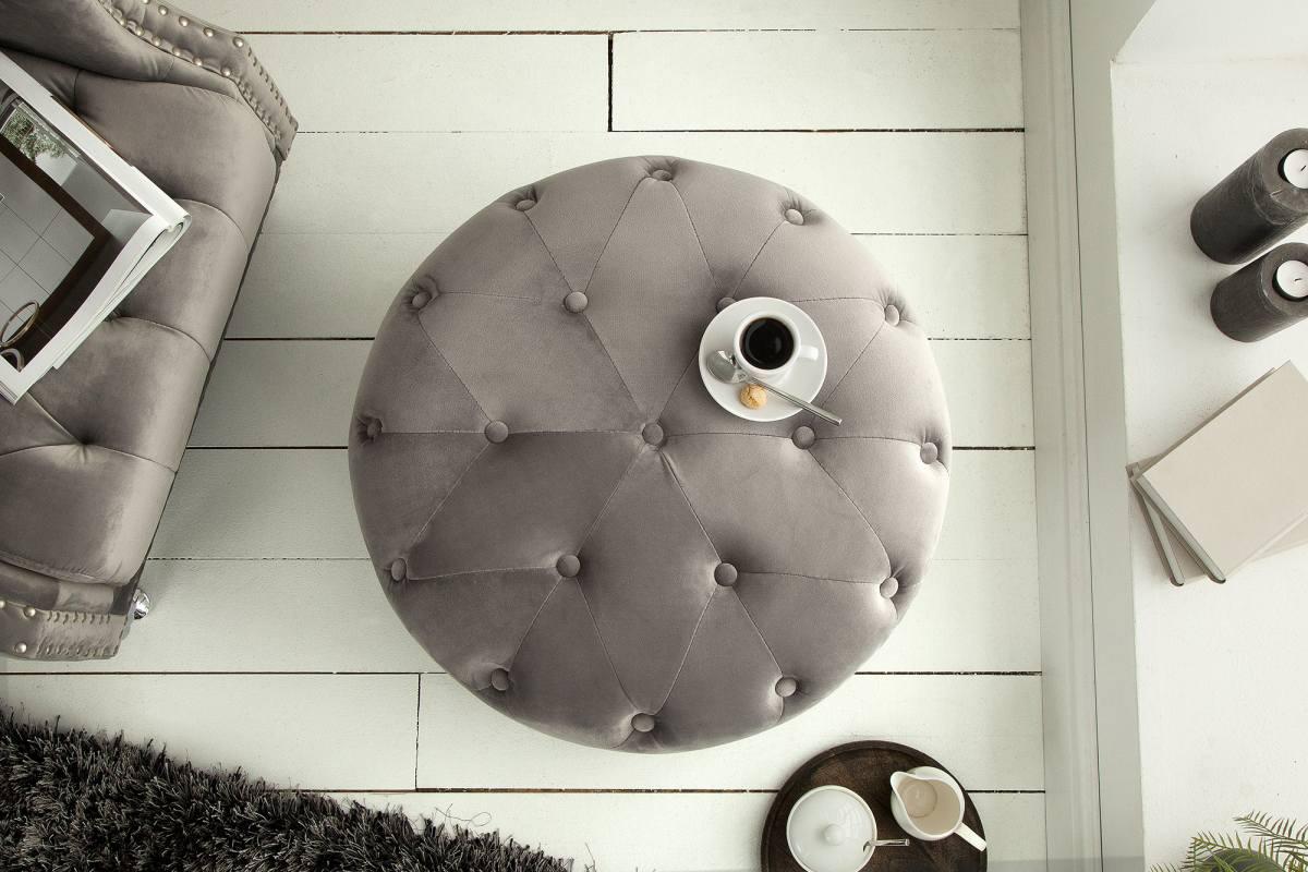 Designová taburetka Iris, 60 cm, stříbrno-šedá