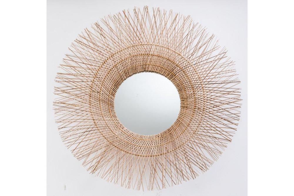 Nástěnné zrcadlo Desmond, 85 cm, kokos