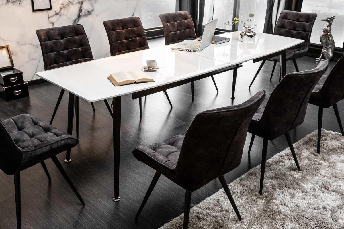 Roztahovací jídelní stůl Gunnar, 160-200-240 cm, bílý