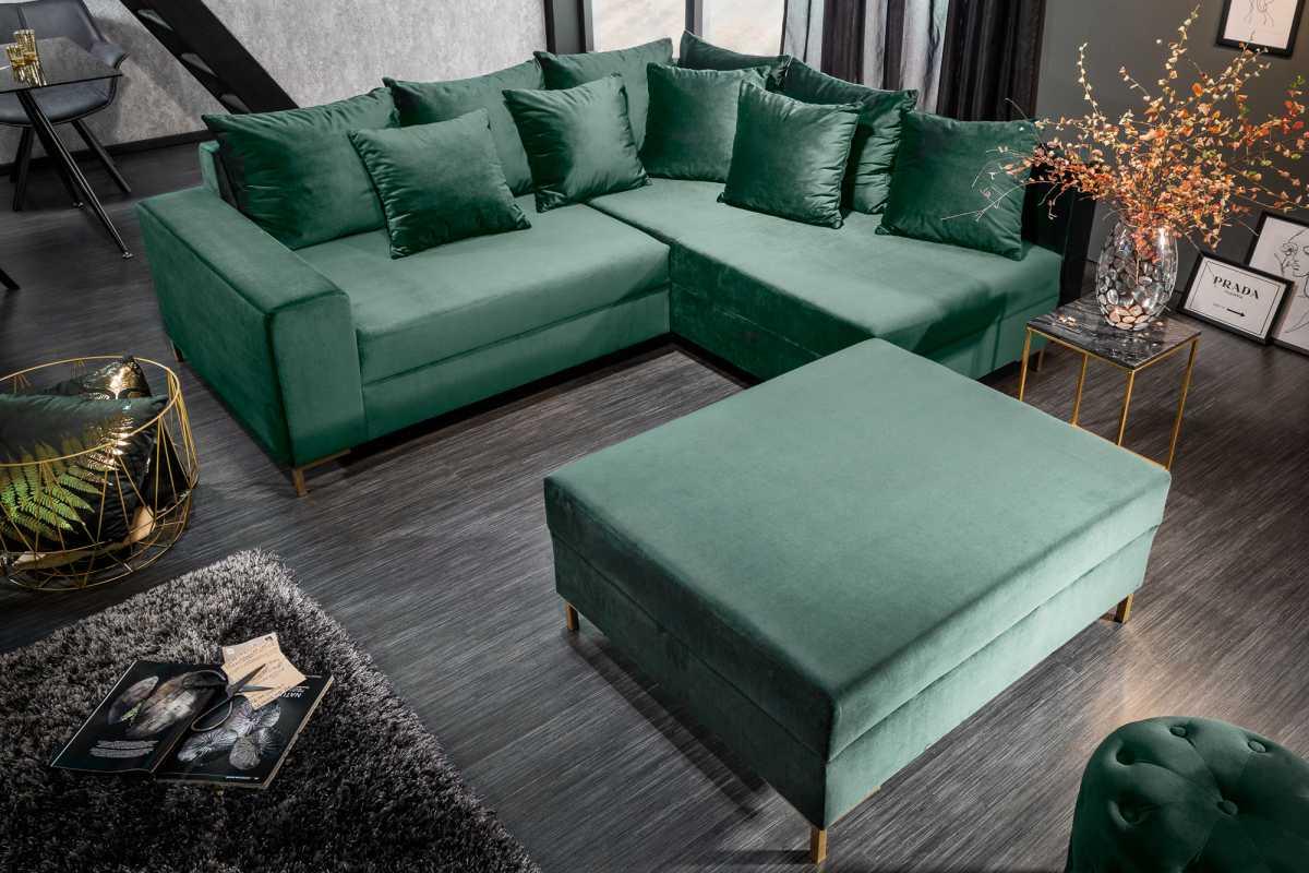 Rohová sedačka Giuliana, 220 cm, zelená, s taburetem