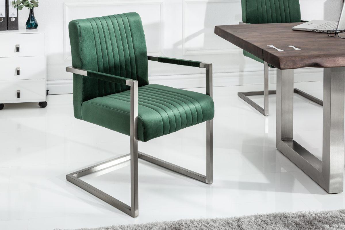 Konzolová židle Boss, zelený samet