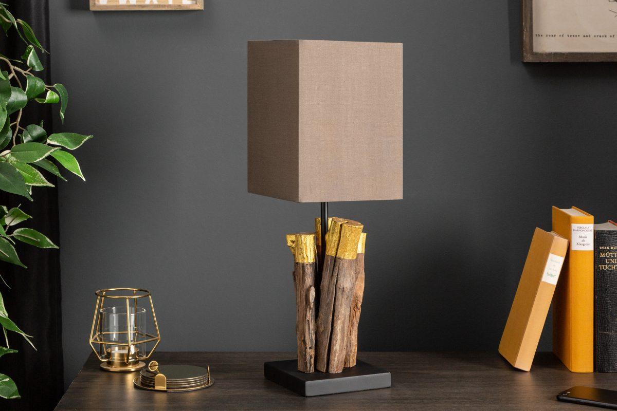 Designová stolní Desmond, 45 cm, zlatá, ironwood