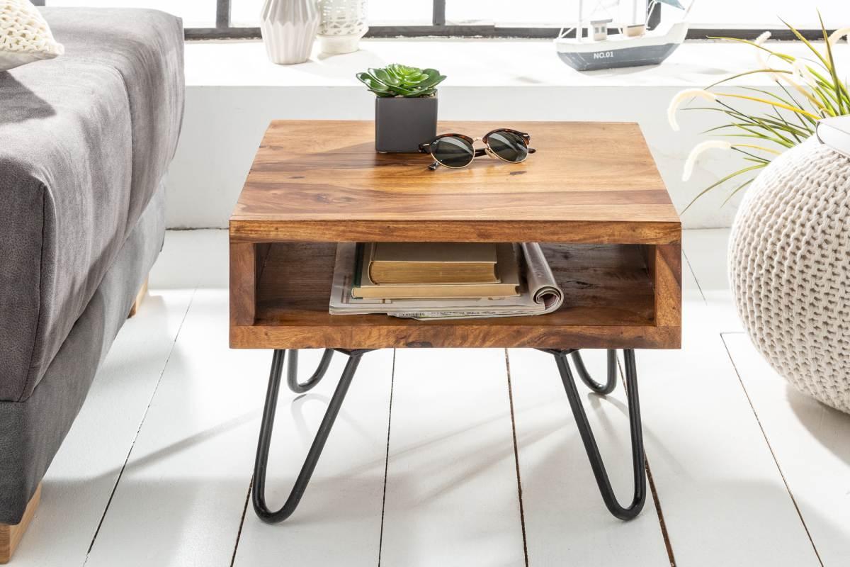 Odkládací retro stolek Shayla, 45 cm, sheesham