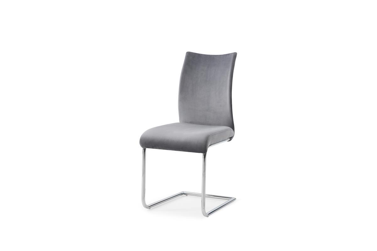 Konzolová židle Bland, šedý samet, chrom