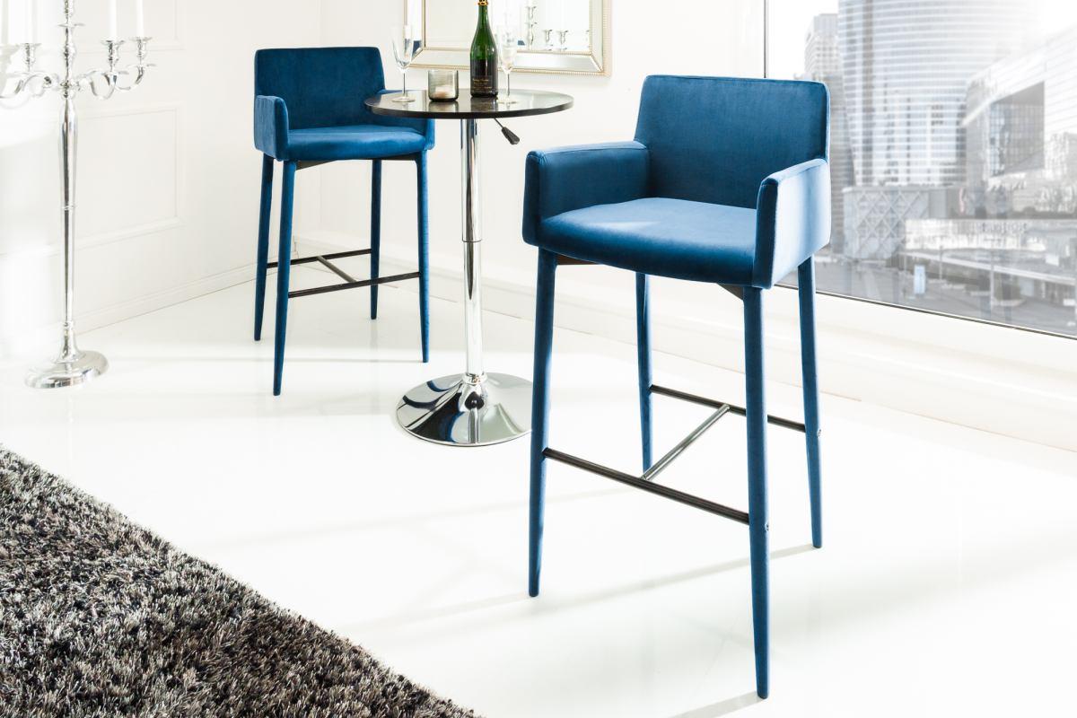 Designová barová židle Neapol, královská modrá, samet