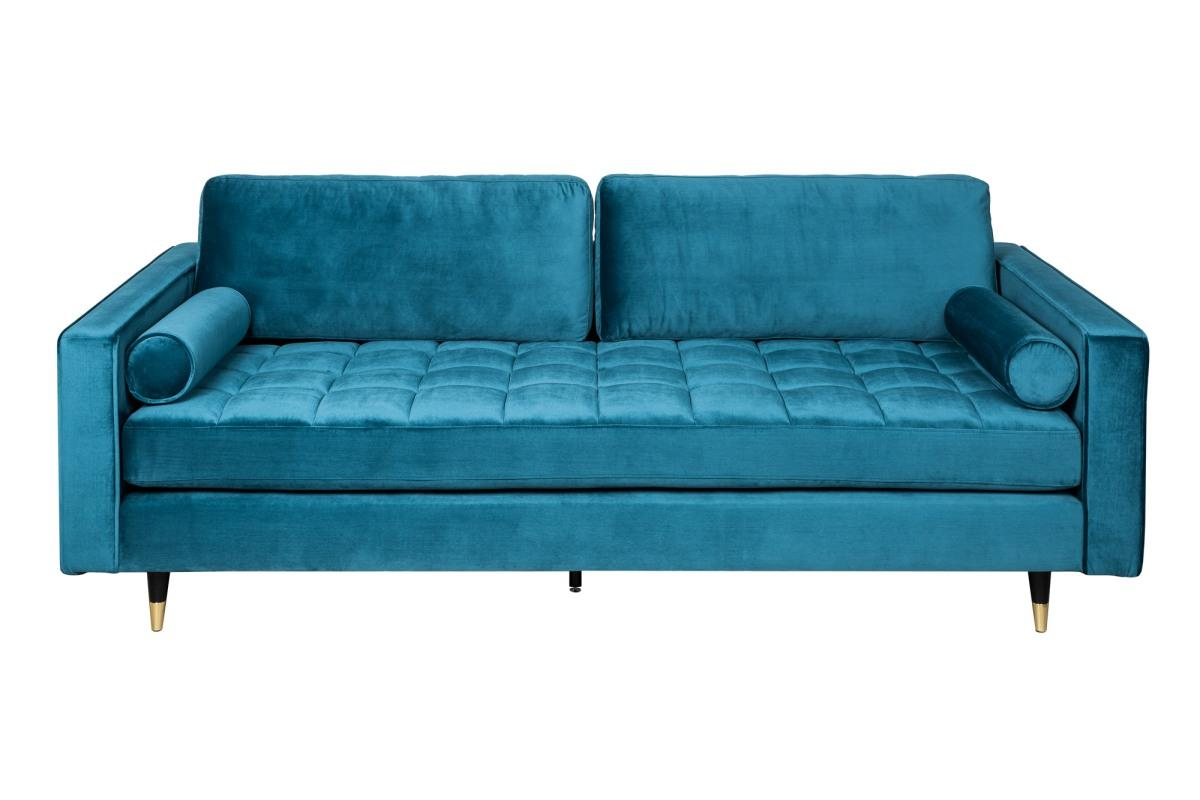 Designová sedačka Adan, 225 cm, modrý samet