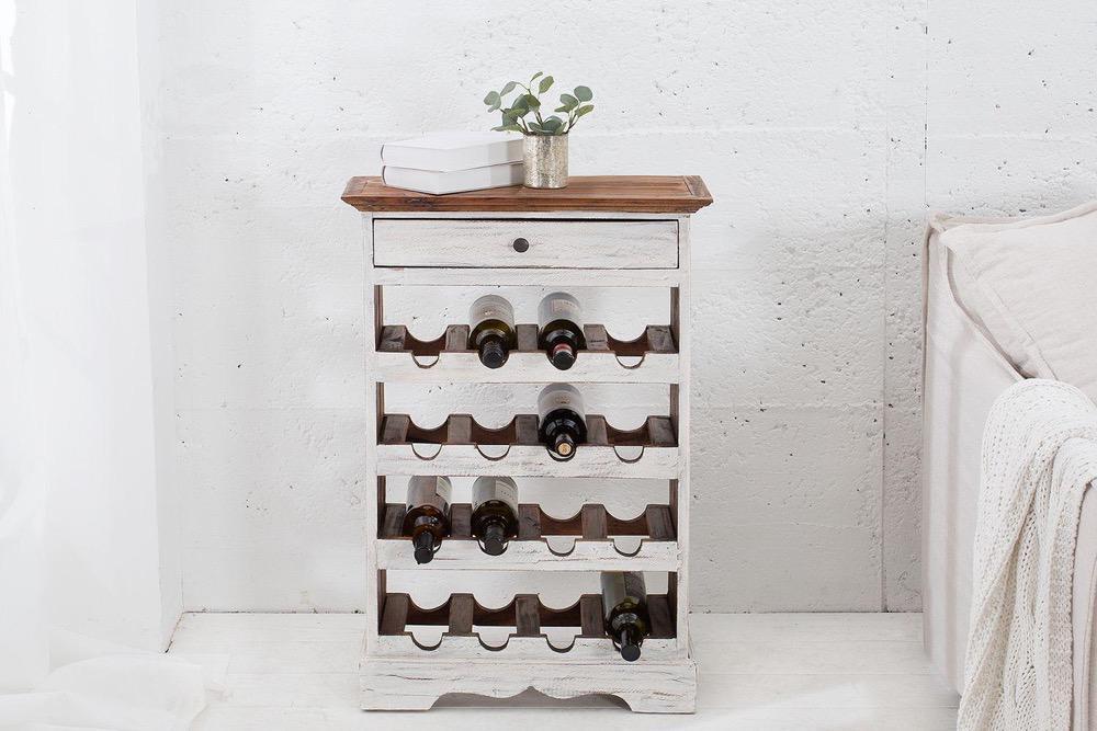 Elegantní regál na víno Provence / bílá - mahagonová