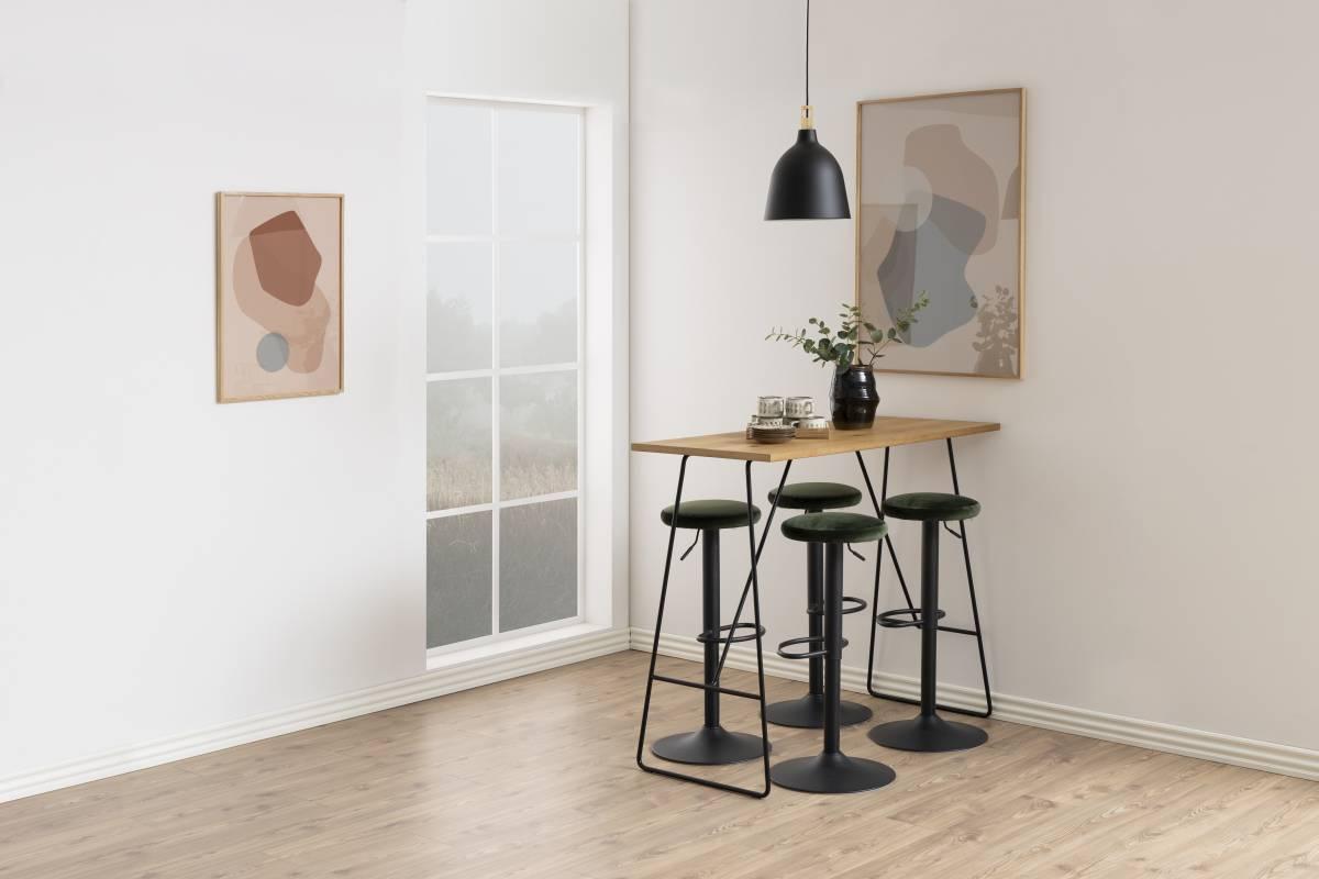 Moderná barová stolička Nenna, čierna-lesno zelená
