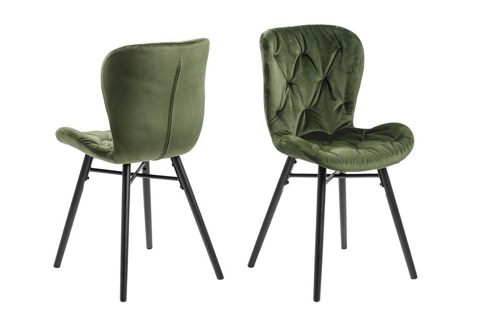 Moderná jedálenská stolička Alejo, lesnícka zelená
