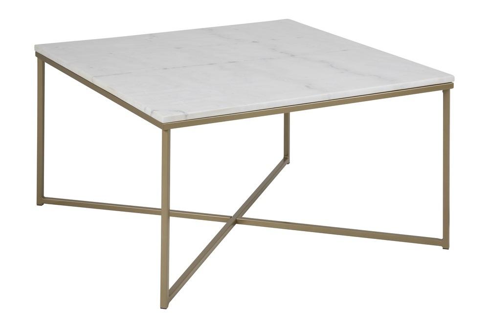 Moderný konferenčný stolík Agostino, biela / svetlá mosadz