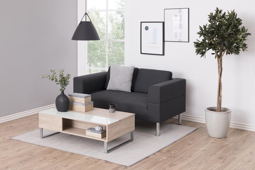 Moderní konferenční stolek Ahaan bílá / dub