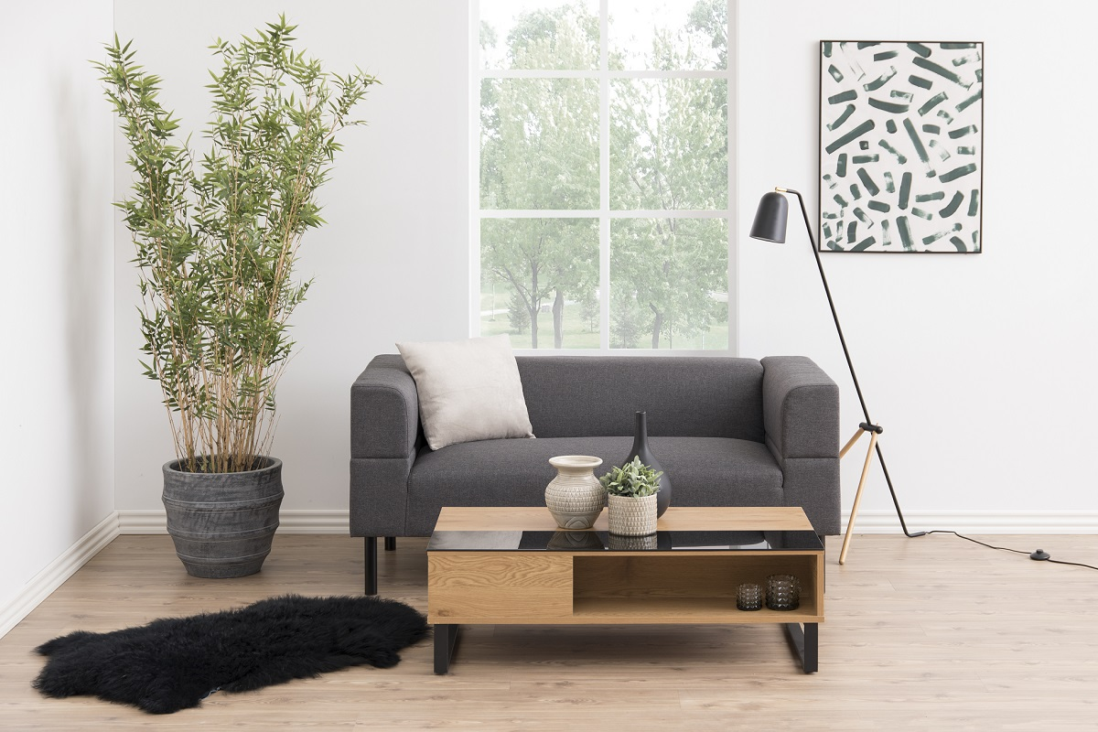 Moderní konferenční stolek Ahaan černá / dub