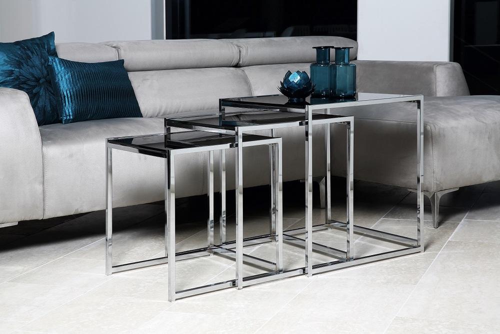 Odkládací stolek 3-set Aimilios černá / chromová