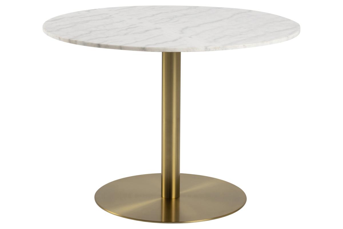 Kulatý jídelní stůl Nechama 105 cm mramor bílý