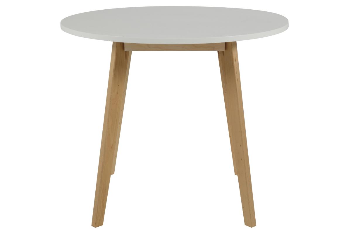 Kulatý jídelní stůl něco 90 cm bílý lakovaný