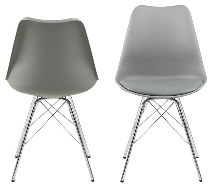 Designová židle Nasia světle šedá chromová
