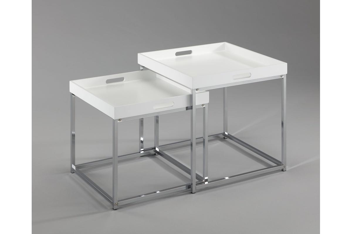 Set odkládacích stolků s táckem Factor, bílý, 2 ks