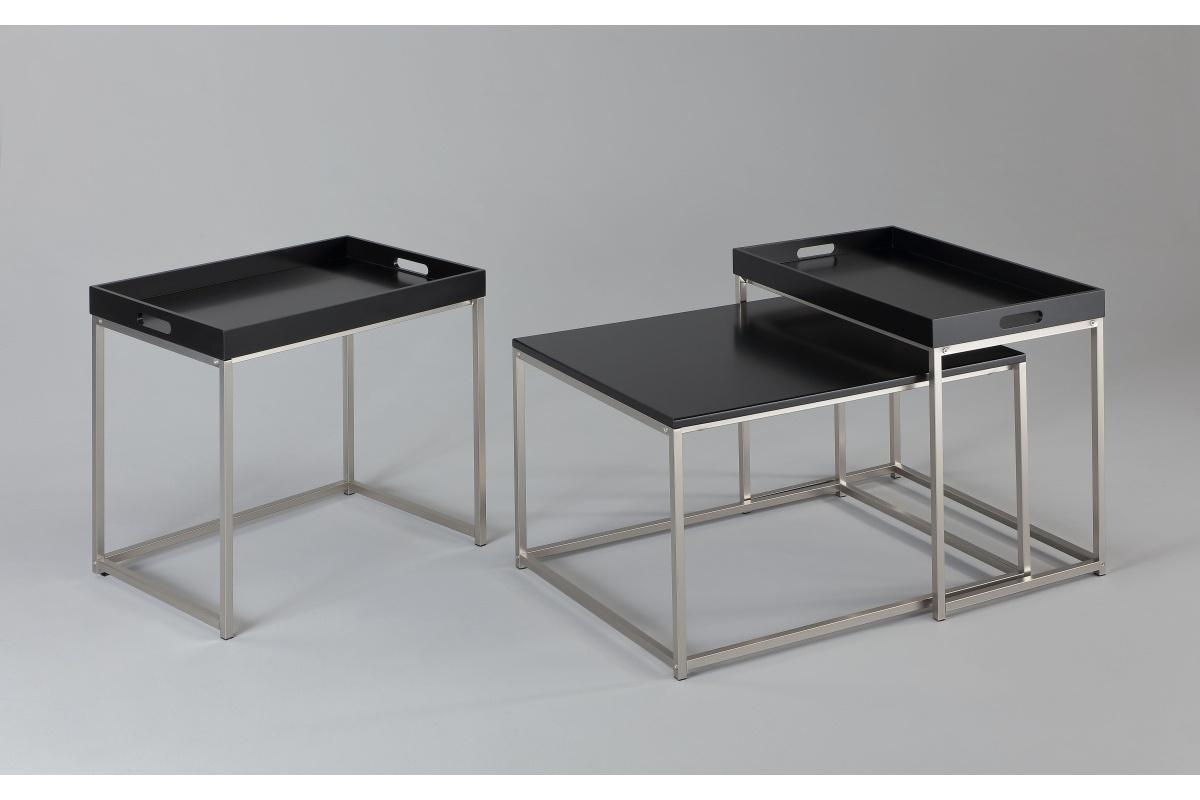 Set odkládacích stolků s táckem Factor, černý, 3 ks