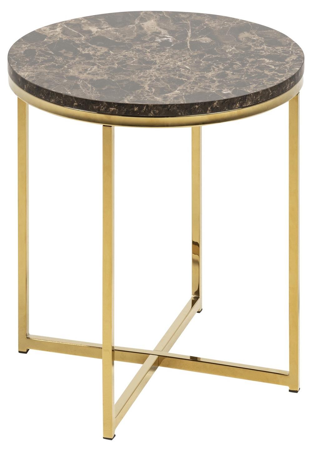 Štýlový odkladací stolík Agostino, hnedá / zlatá chrómová
