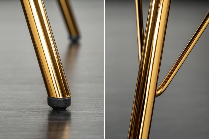 Designová jídelní židle Sweden Retro, starorůžová / zlatá